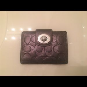 Coach leather pewter wallet
